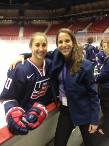 pic Dr Holly Johnson of Mass General Hospital with Kate Buesser of the US Womens Hockey Team USA