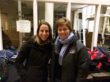 Photograph of Dr Holly Johnson and Katey Stone, coach of the USA Olympics Womens Ice Hockey Team